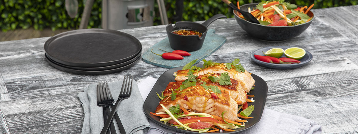 BBQ Salmon Fillets With Chilli Caramel Dressing And Julienned Vegetable Salad